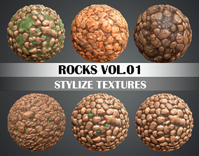 3D asset Stylized Rock Vol 01 - Hand Painted Texture