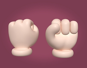 Cartoon Hand - Fist Icon - Four FIngers 3D model