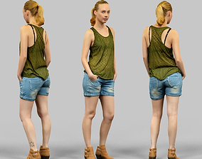 Girl in Green Top and Jeans Shorts 3D asset