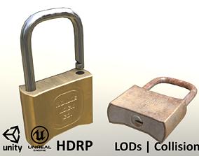 3D model Padlock Clean and Rusty - Unity - HDRP - UE4