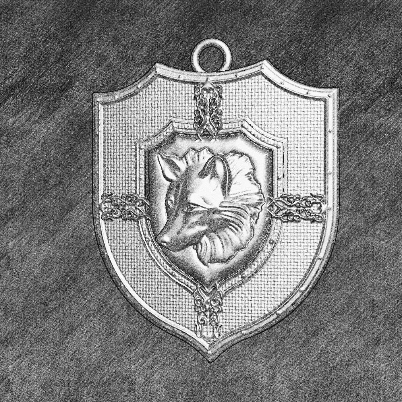 Wolf Head Sculpture pendant jewelry gold necklace medallion 3D print model