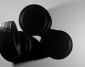 animated low-poly Tire pack and rim 3D