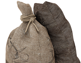 3D asset sack and rope