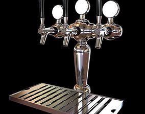 Shiny Metal Beer Taps 3D