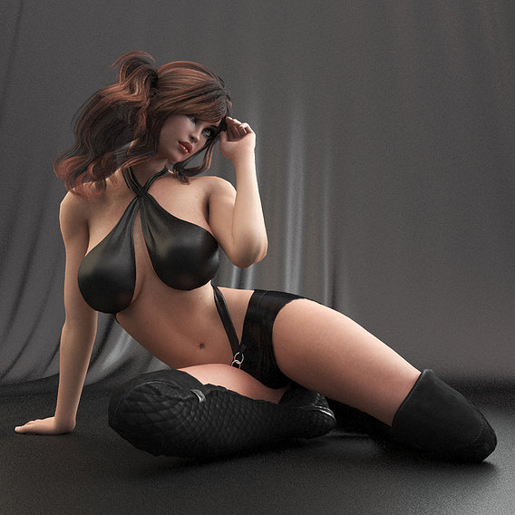Woman in leather clothing