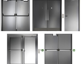 Metal swing fire doors 3D