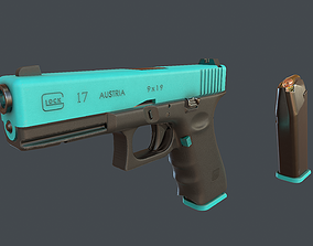 Blue Glock 17 with magazine 3D asset