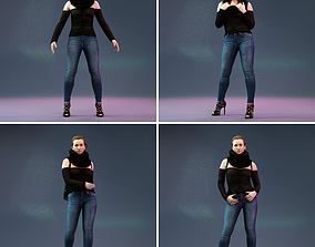 3D 4 Big Black Scarf Girls in Jeans