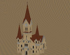 3D asset Abandoned Church 2 with PSX aesthetic graphics