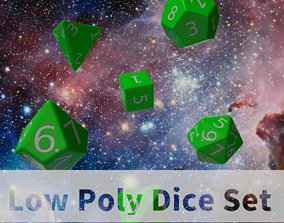 Green Plastic Dice Set 3D asset