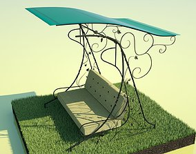 VR / AR ready Garden Swing Wrought iron 3D model