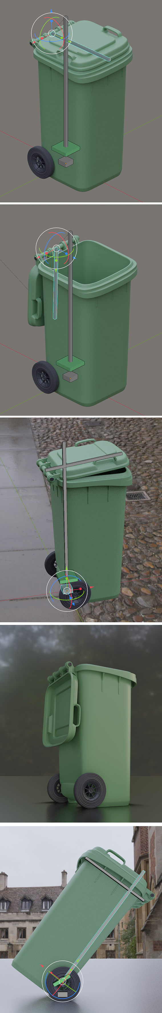 Rigged and Animated Garbage Can 120L High Poly 3D model