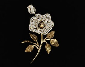 3D print model ROSE FLOWER BROOCH
