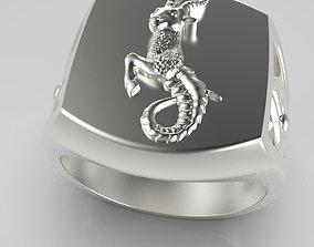 Zodiac ring Capricorn 3D print model jewelry