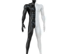 3D Male abstract mannequin white with black color 89