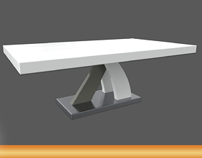 3D asset Axara Coffee Table Rectangular In White And 3