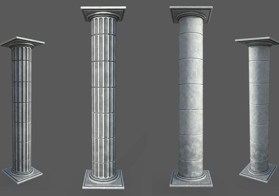 2 Low Poly Roman Columns