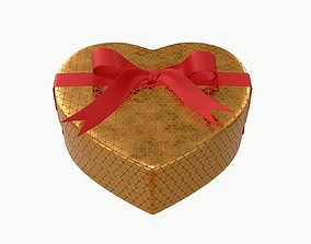 heart shaped box with ribbon tied round with bow 3D model
