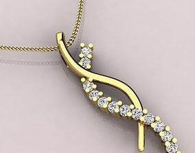 Twisted Ribbon Pendent Round diamonds 3D print model
