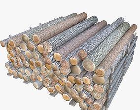 Wood Log Low Poly 3D asset