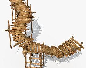 3D model Old Wooden Bridge 02