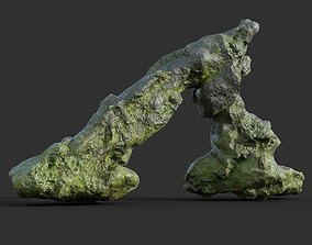 3D model Low poly Damaged Jungle Mossy Rock 05