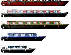 English Canal Boats collection 3D model uk