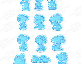 3D print model Snoopy Cookie Cutters set of 12