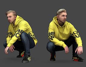 Guy Squatting 3D model
