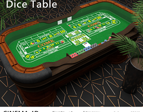 Casino Dice Table 3D asset low-poly