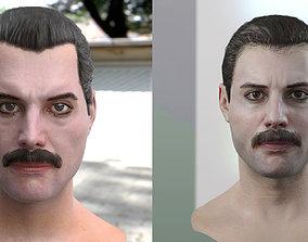 VR / AR ready The 3d model of Freddie Mercury singer head