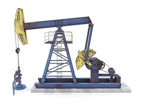 Oil Pumpjack Weathered 1 3D model