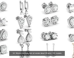 101 Women earrings 3dm stl render detail 3D