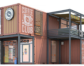 Container coffee shop 3d 3D