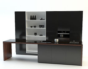 3D Modern Kitchen Black