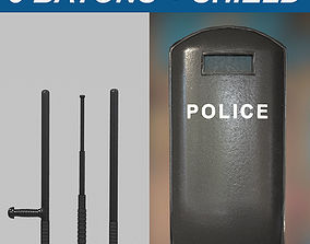 Police Batons and Shield 1 Plus 1 Pack 3D asset