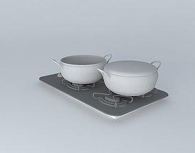 3D model Cooktop black