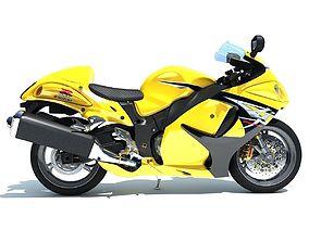 3D Yellow Suzuki Hayabusa Motorcycle