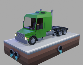 lowpoly Low Poly Truck 3D asset game-ready