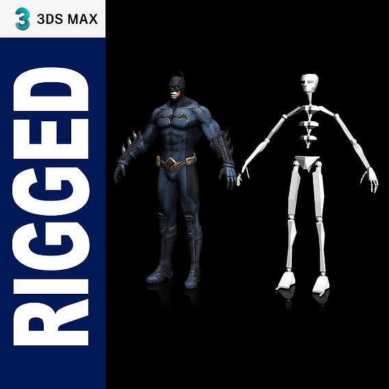 BATMAN Low-Poly 3D model 3DS MAX Rigged Low-poly 3D model
