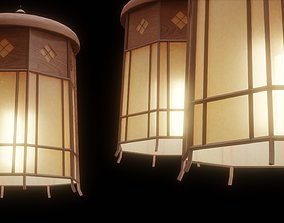 wooden 3D asset low-poly Ceiling Lamp