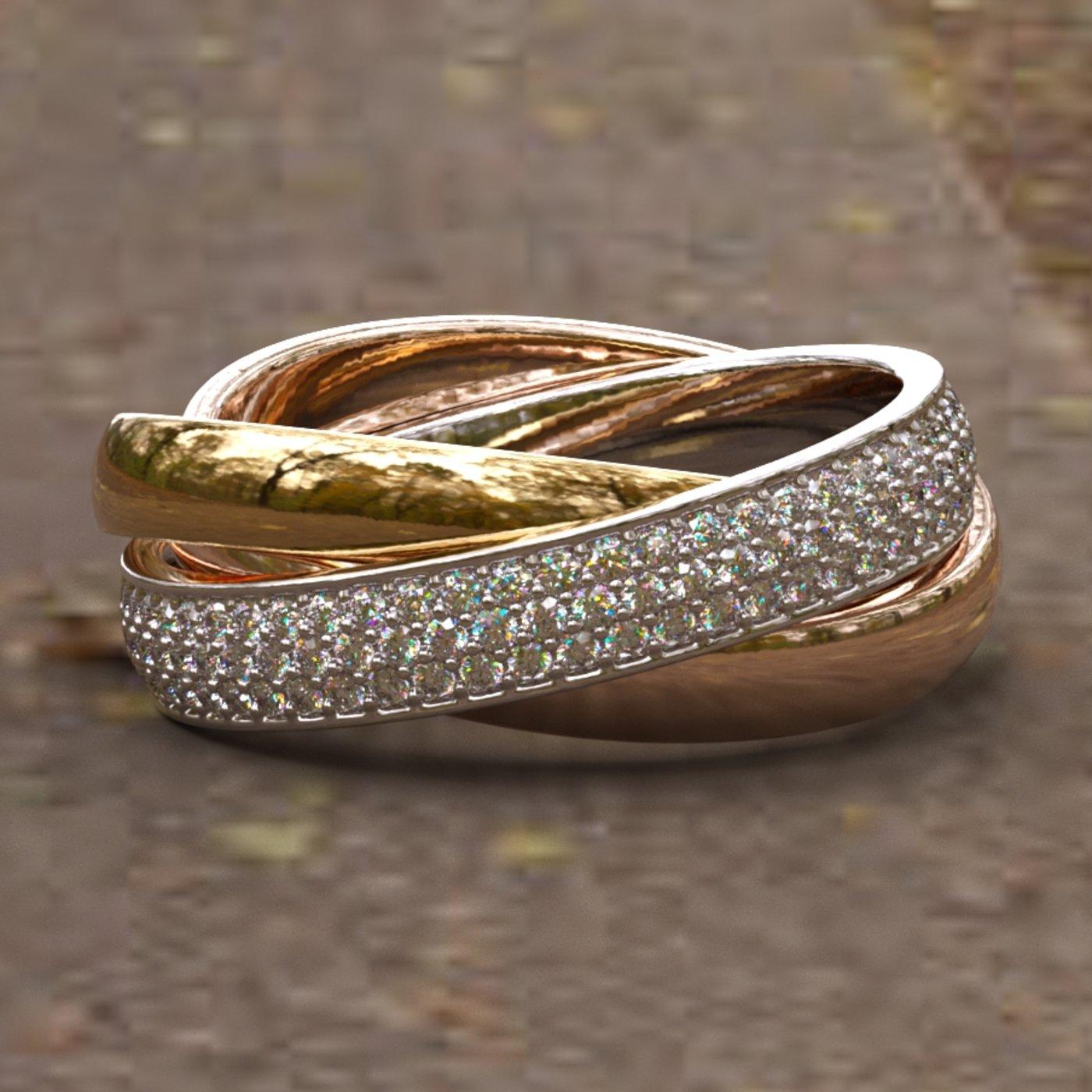 3-Tone Diamond gold Rolling Eternity Ring