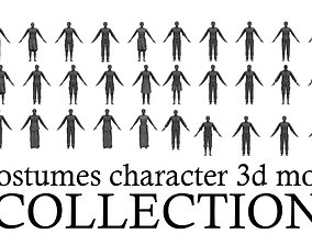 32 costumes character 3d models collection