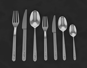 Decorative spoon Fork and Knife 3D model