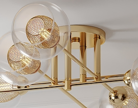 3D model Mid Century Light Radial Glass Gold Ceiling Light