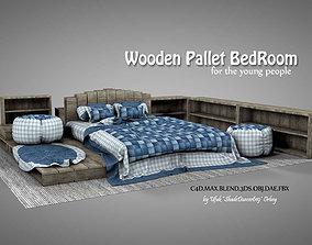 Wooden Pallet Bedroom 3D model