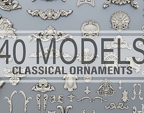 40 classical baroque ornaments 3D printable model