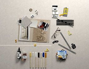 Composition Pictures Office Supplies Oil and 3D model