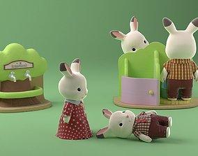 3D sylvanians Rabbit toys