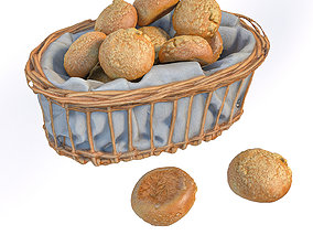 3D model Basket with bread rolls
